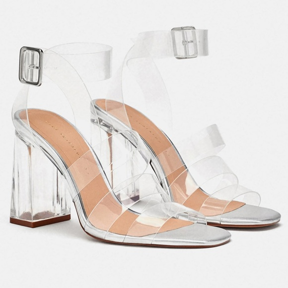 fc2f40241f9 Clear strappy sandals. M 5bf77e0634a4ef9560a75c6a